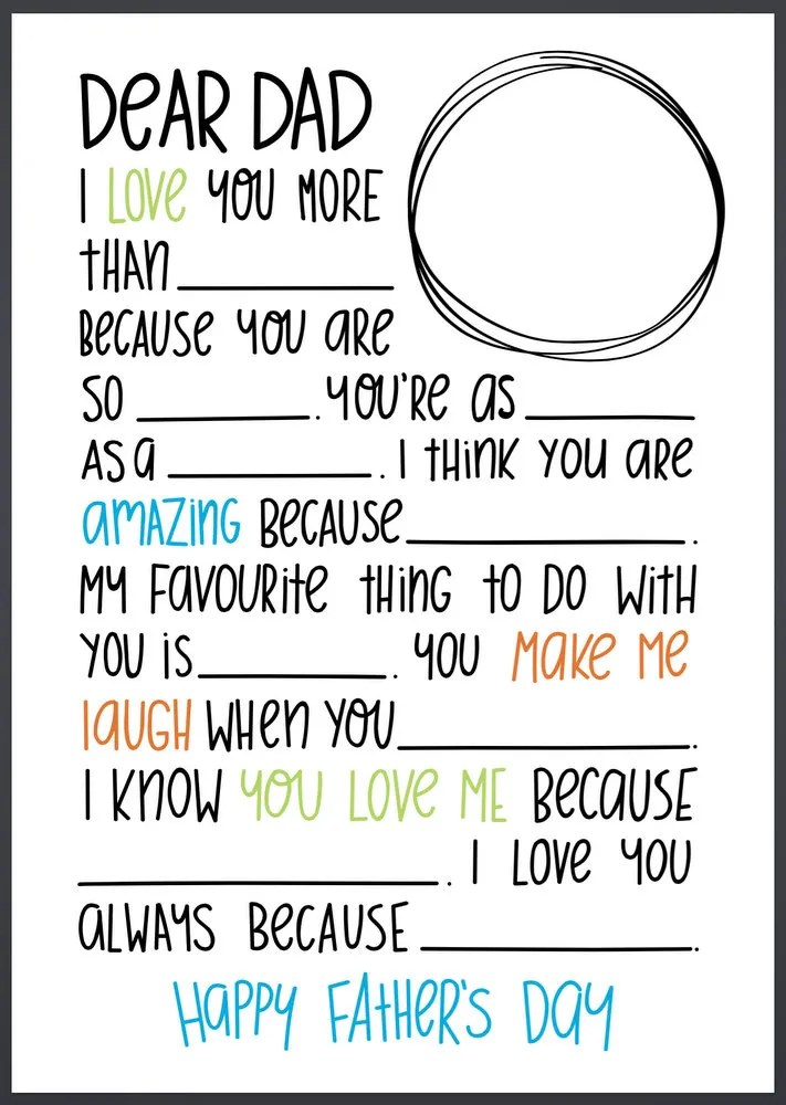 Fill In The Blanks Letter For Father S Day Scrap Booking