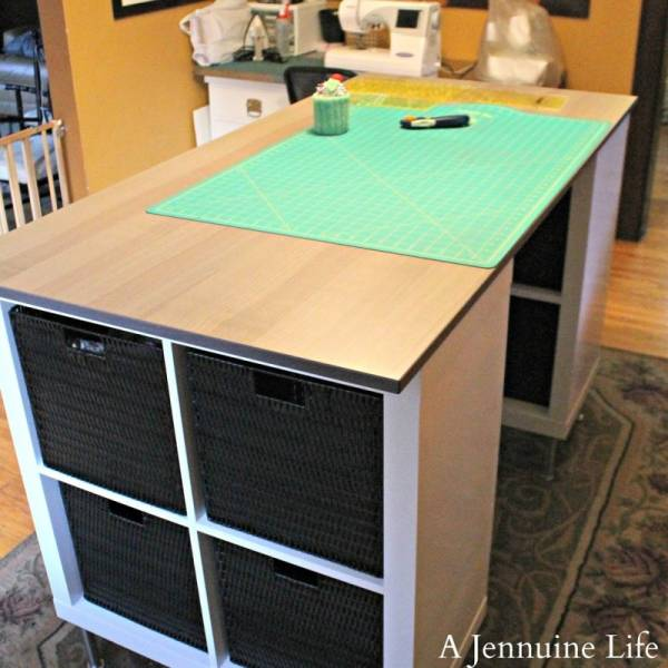 Diy Counter Height Craft Table With Storage Scrap Booking