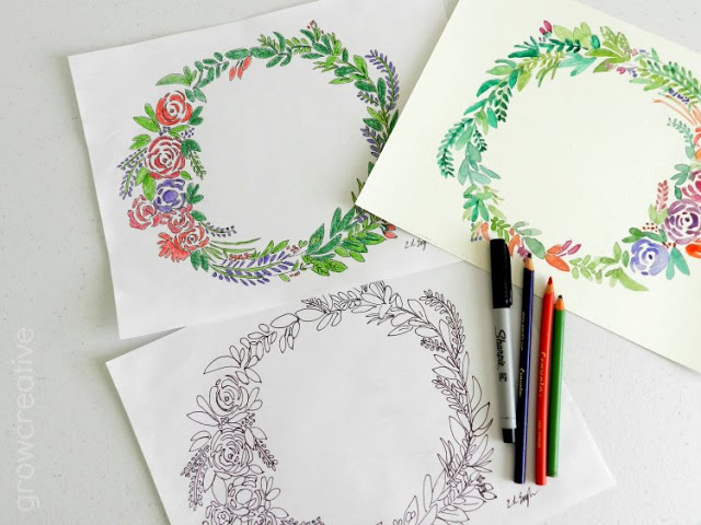 Freebie | Floral Wreath Coloring & Watercolor Pages – Scrap Booking