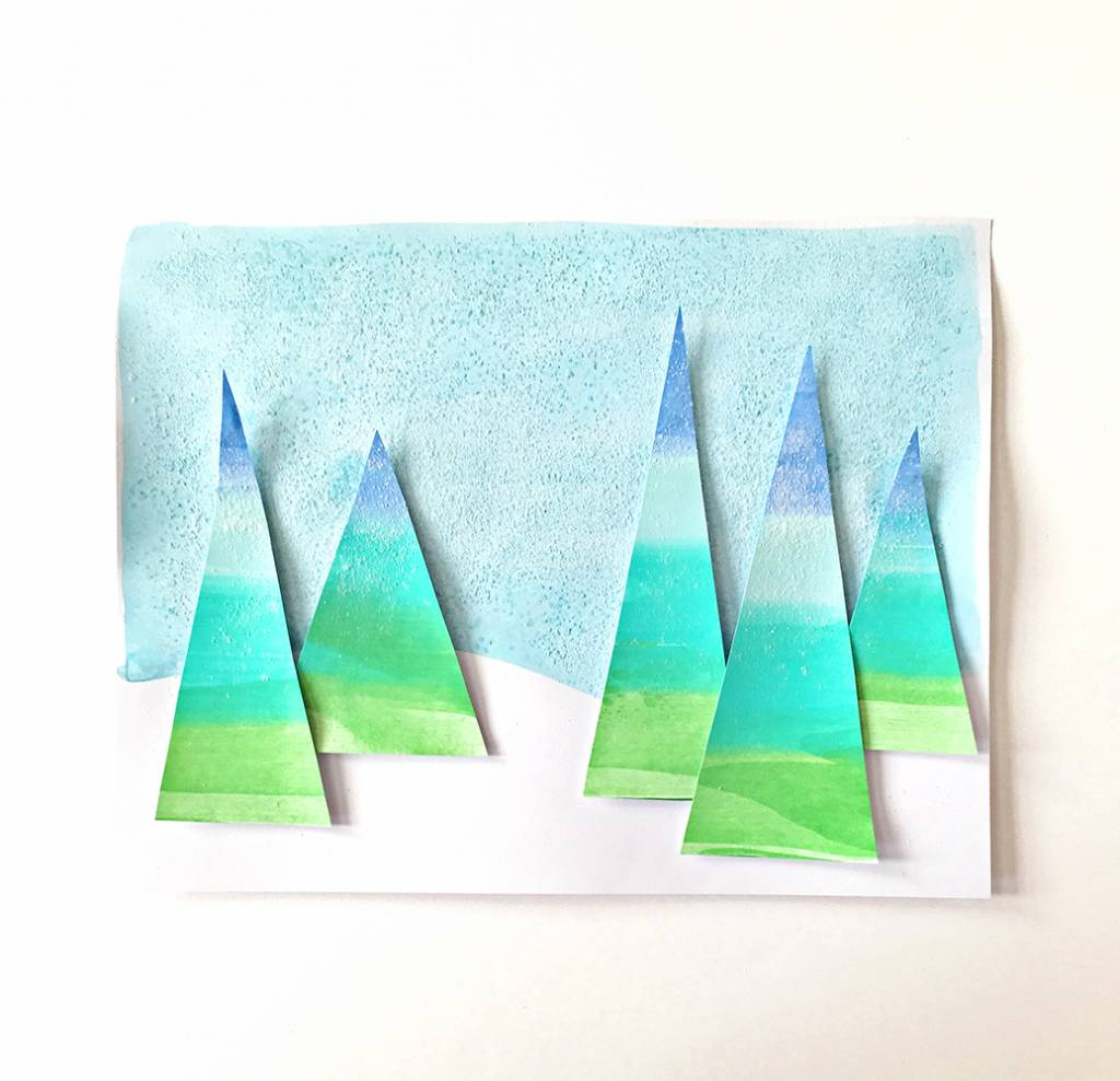 Tutorial Winter Holiday Tree Squeegee Painting Scrap Booking