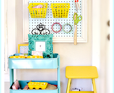 Peg Board & Cart Workstation