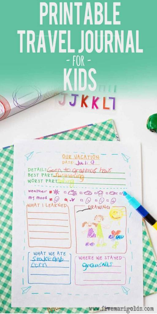 Printable Travel Journal Template For Kids  Scrap Booking