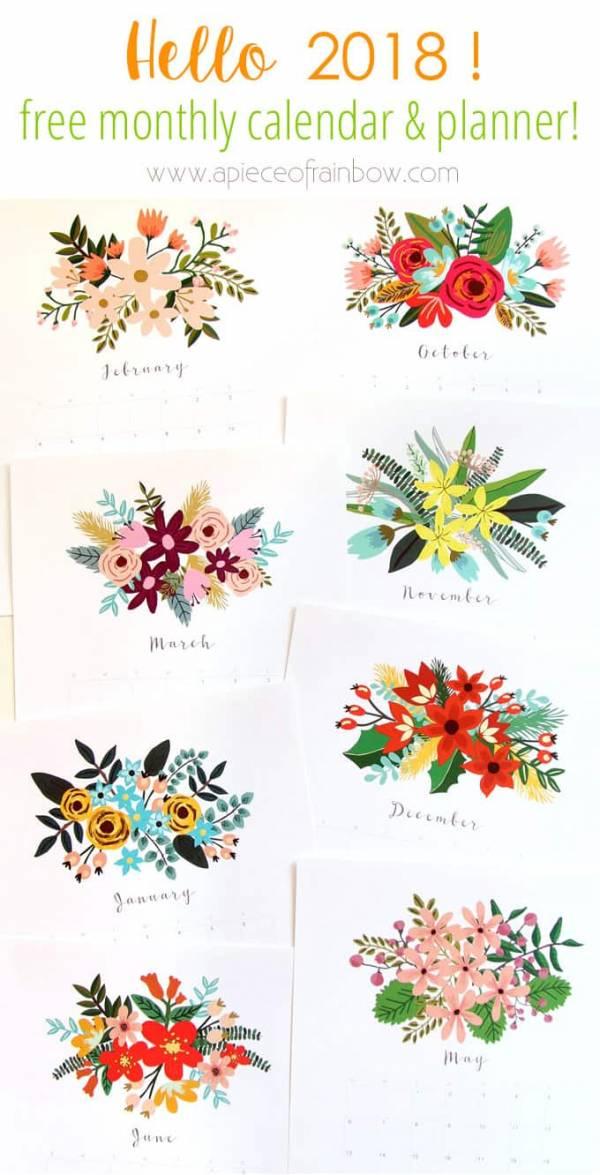 beautiful floral 2018 calendar  u0026 monthly planner printables  u2013 scrap booking