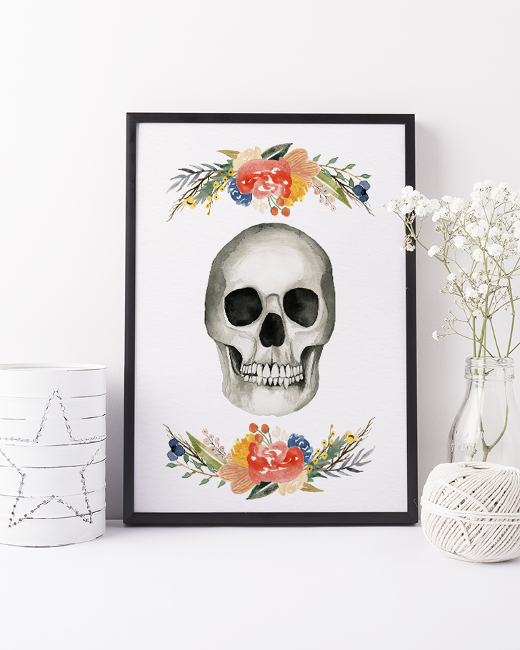 Printable Watercolor Floral Skull for Halloween