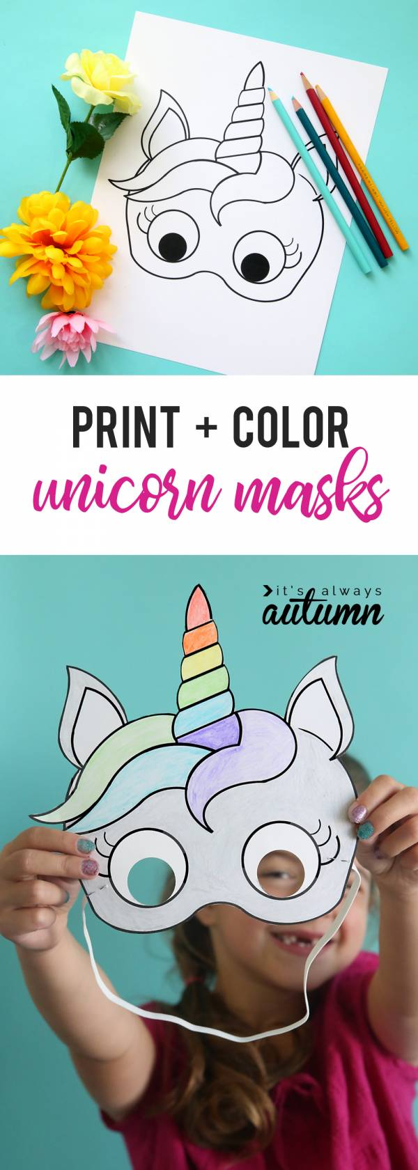 Unicorn Lovers Will Love This Free Printable Mask That They Can Color In Themselves With Its Easy To Create A Unique And Customized