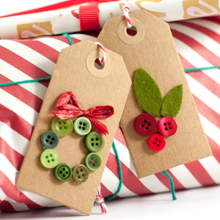 DIY Button Wreath Tags for Gifts and Scrapbooking