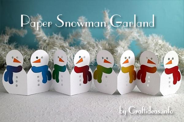 Christmas or Winter Craft – Paper Snowman Garland
