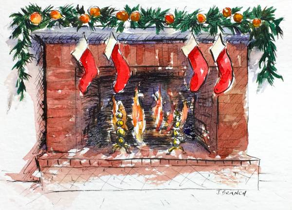 How to Paint a Hearth for a Christmas Card