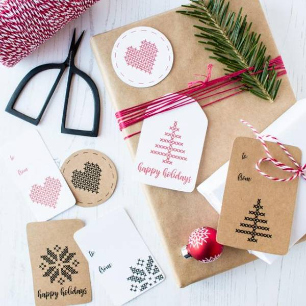 Printable Cross-Stitch Inspired Gift Tags