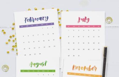 Printable Colorful Hand Lettered 2018 Calendar