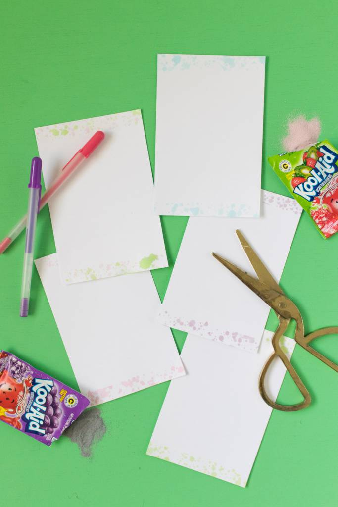 DIY Kool-Aid Splattered Stationary