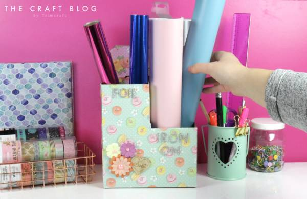 DIY Craft Tidy from Cardboard Bottle Carrier