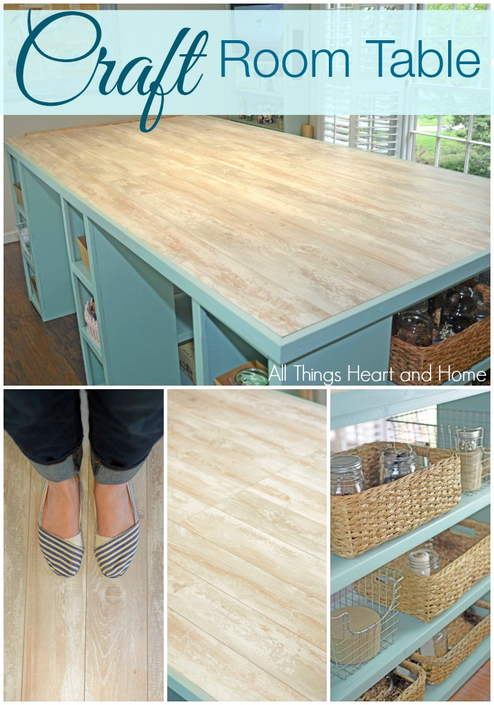 DIY Craft Room Table with Laminate Flooring