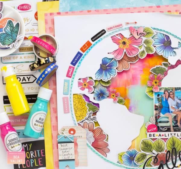 Globe Scrapbook Layout with Stitching