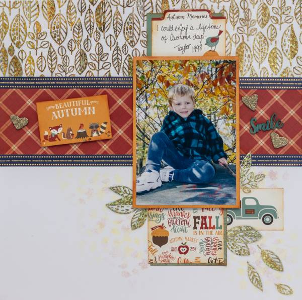 Fall Layout with Custom Printed Ribbon