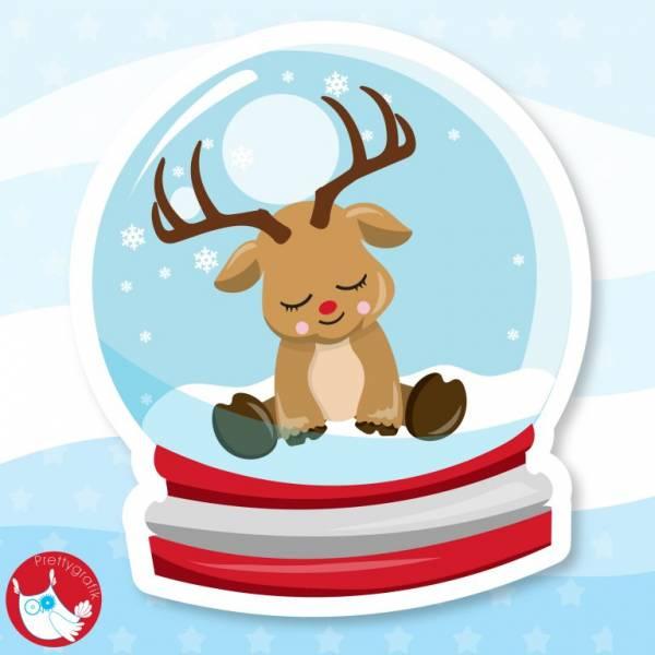 Rudolph Snow Globe Printable