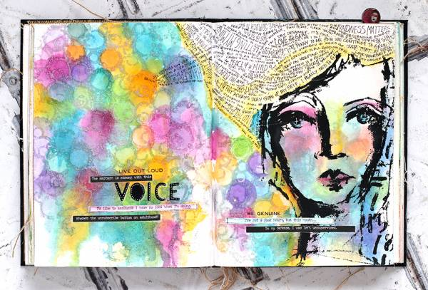 Female Face Art Journal Page