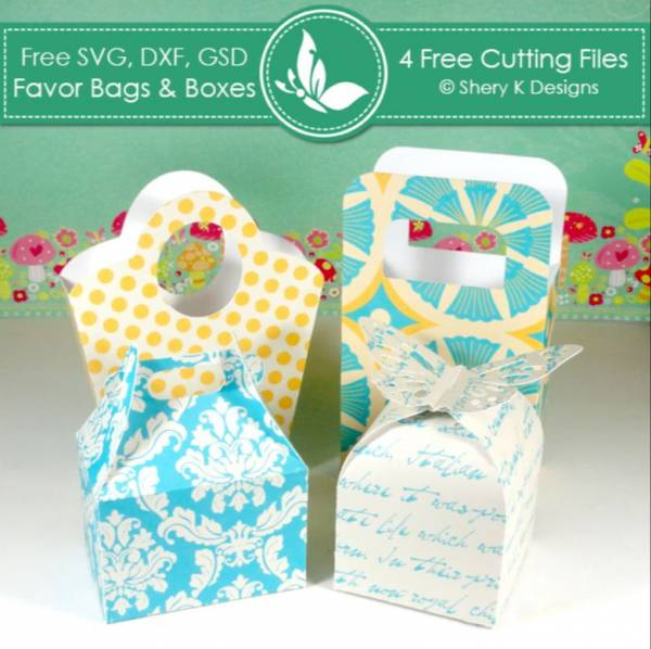 4 Favor Bags and Boxes Cut Files