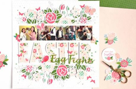 Floral Easter Scrapbook Layout