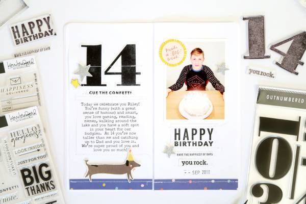 Large Number Stamps Birthday Pages