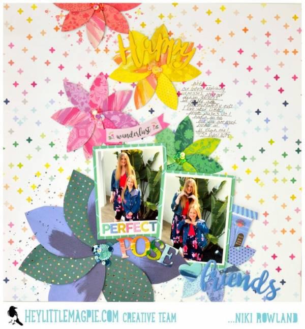 Rainbow Petal Flowers Scrapbook Page