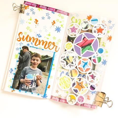Summer Stars Traveler's Notebook Layout