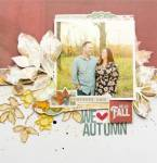 Stitched Fall Leaves Layout