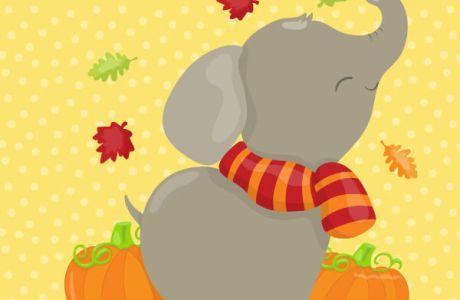 Fall Elephant Clip Art