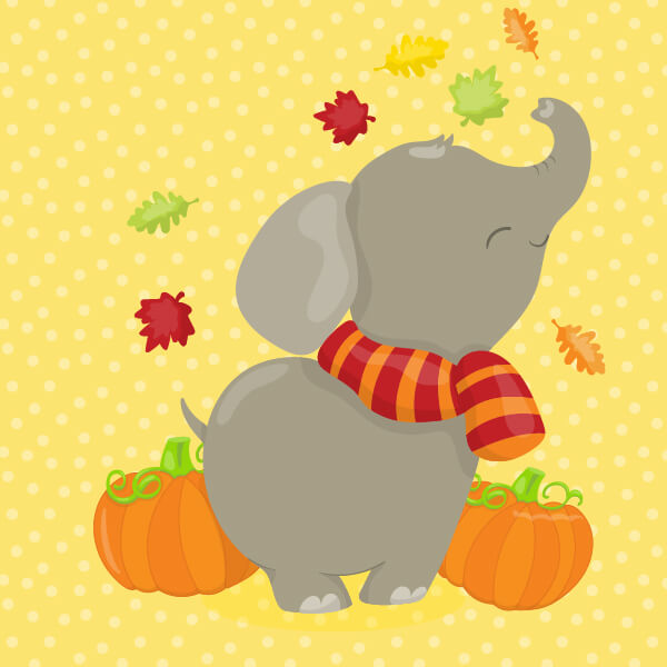 Fall Elephant Clip Art
