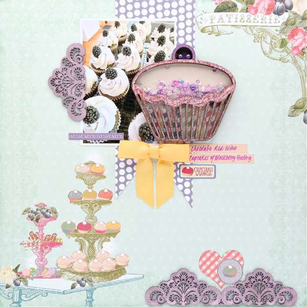 Scrapbook Layout with Cupcake Shaker Element