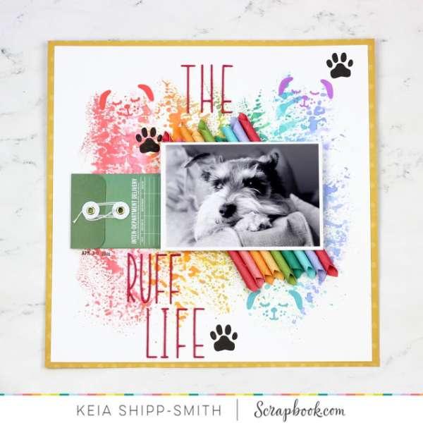 Rainbow Dog Scrapbook Layout