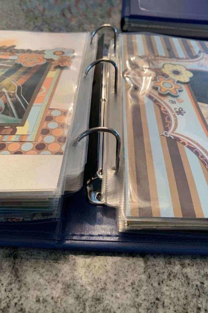 Open view of 3 ring scrapbook album