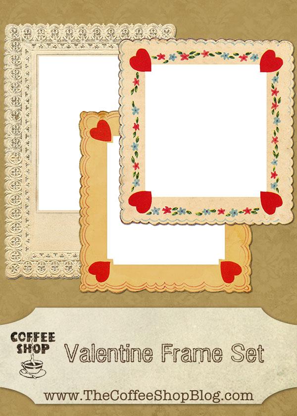 バレンタインにピッタリ!ハートをモチーフにしたデコがかわいいフレーム3個。 デジタルスクラップブッキング