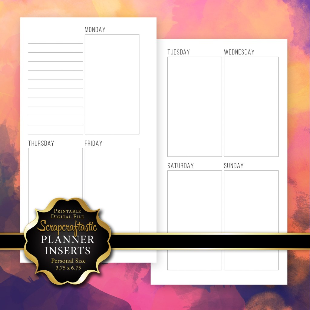 Planner Printable Insert Refill Undated WO2P Personal Size with Horizontal Days - INC.