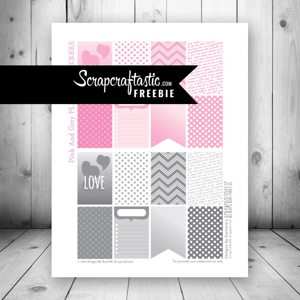 Love Pink & Grey Free Printable Planner Stickers
