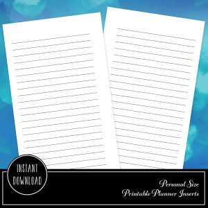Free Personal Size Lined Note Page Printable Planner Inserts