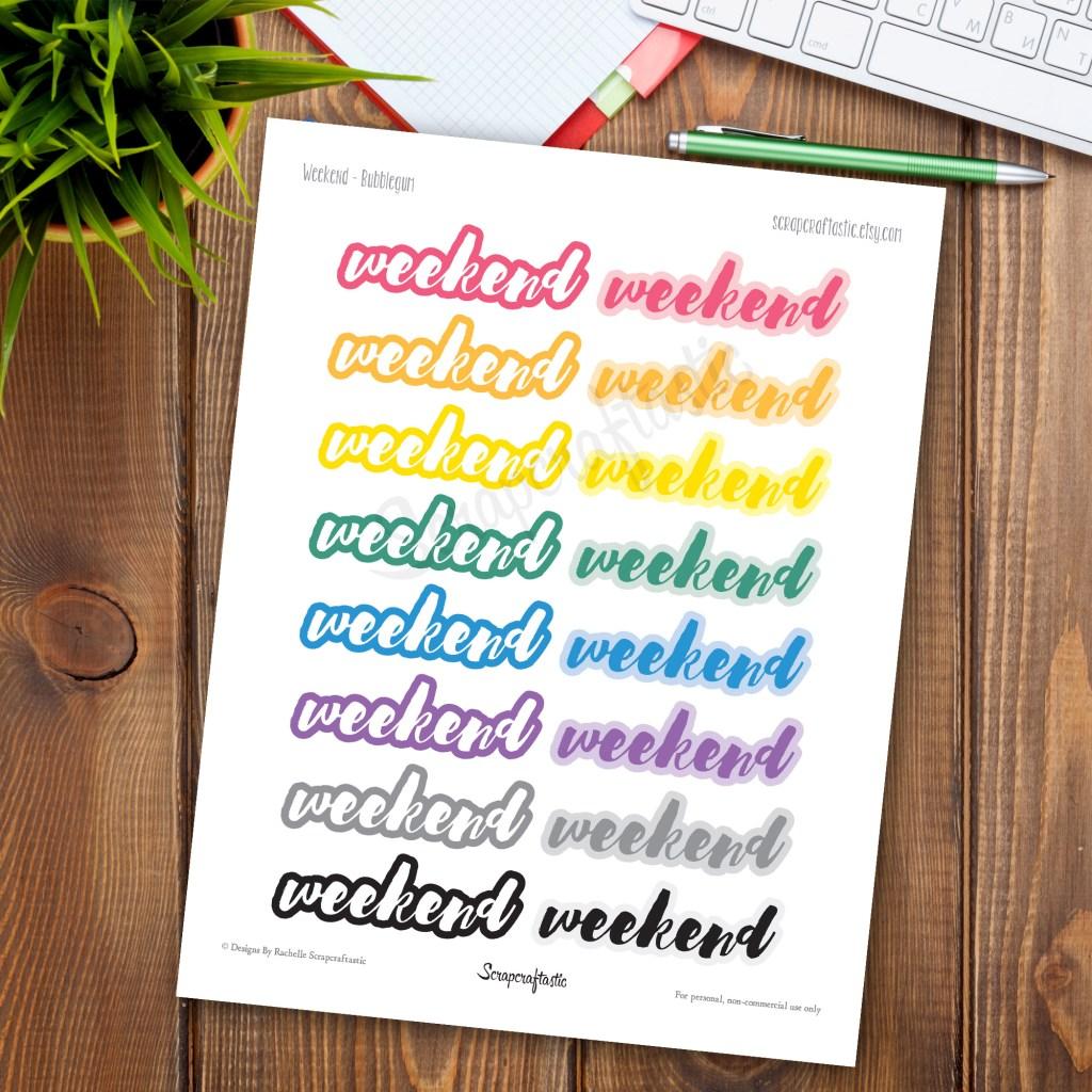 Bubblegum Weekend Printable Planner Stickers