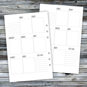 Half Page WO1P Printable Planner Inserts