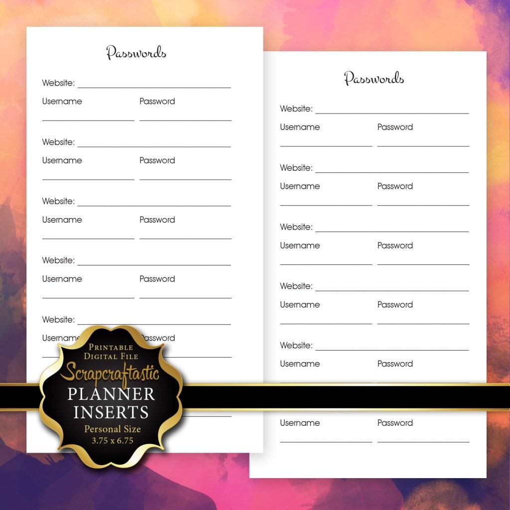 Password Log Planner Insert | Personal Size Planner Filofax Kikki K Kate Spade ColorCrush