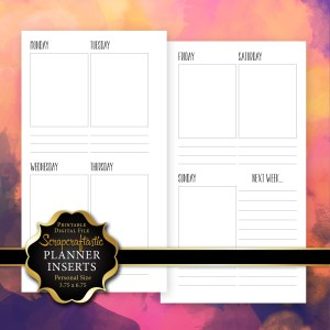 Undated WO2P Personal Size Printable Planner Insert