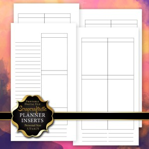 Blank Undated No Days WO4P Personal Size Printable Planner Insert