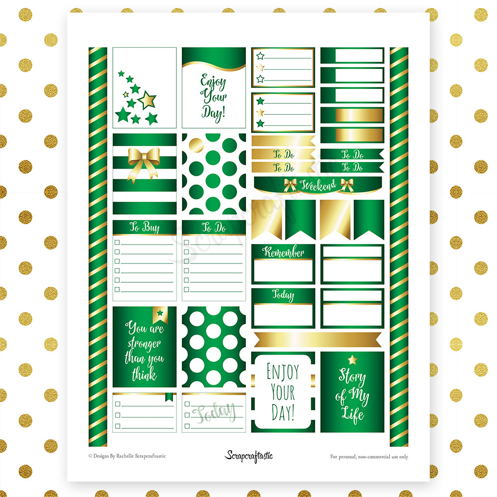 All Green Pro Printable Planner Stickers for Erin Condren (EC) Life Planner
