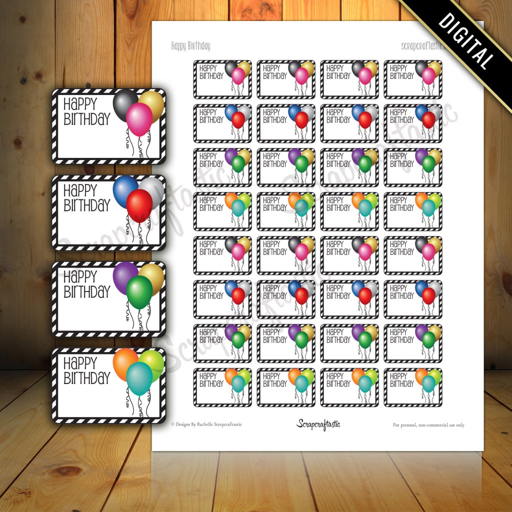 Happy Birthday Balloon Half Box Printable Planner Stickers for Paper Planners