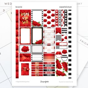 Roses are Red Printable Planner Stickers fit the Mambi Happy Planner