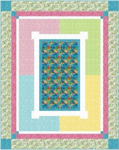 "This happy quilt features your favorite fabric or panel in the center and surrounds it with pretty fabrics to grow your garden. Ideal for beginners. Gather your pretty floral fabrics and have a party! Finishes approx 69"" x 87""."