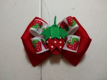 "Strawberry on 5/8"" Strawberry Ribbon, stacked on 1.5"" Red Boutique Bow"