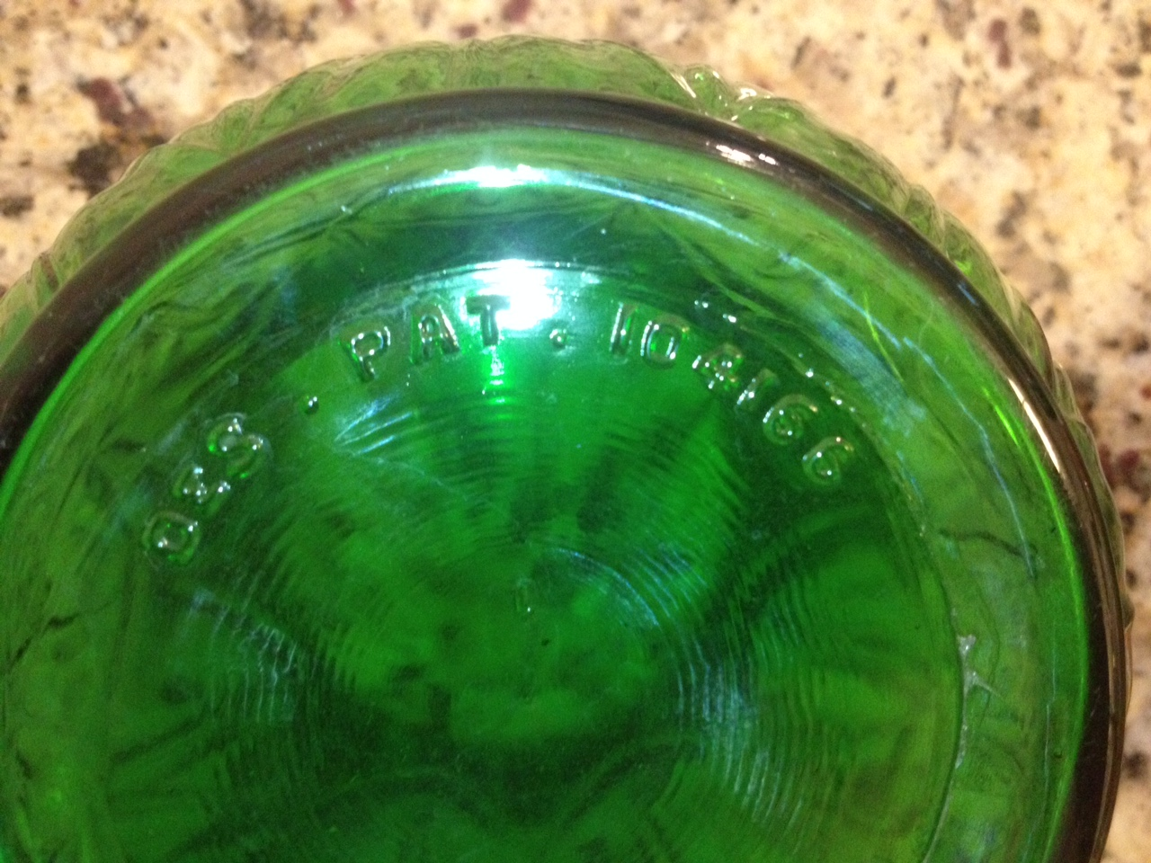 Antique pickin the green depression glass vase scrappymags look for a patent number or any type of number that can be researched reviewsmspy