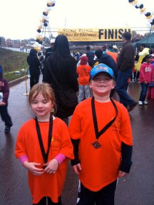 My 5 & 6 yr old after running a 1k