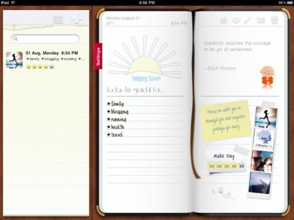 iPad gratitude journal app