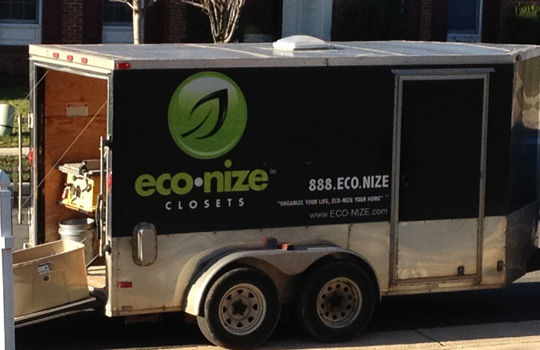 The Eco-nize truck shows up this morning and they get right to work on the garage.